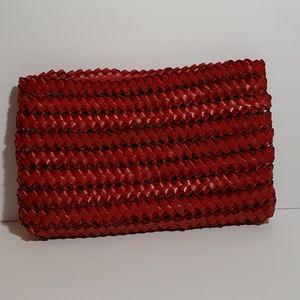 Vintage Red Straw Clutch Purse